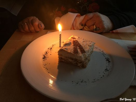 Robin's Birthday Cake - ÀLAVITA Tiramisu... espresso lady fingers, Grand Marnier and orange zest