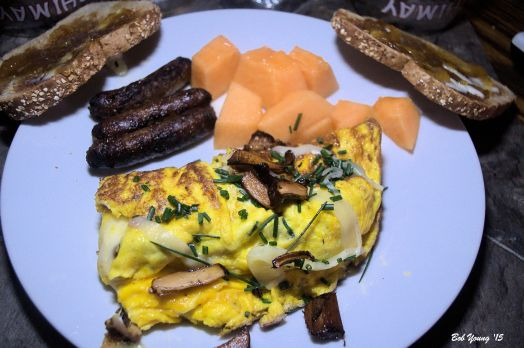 Chanterelle Omelet with Fresh Chives, Sausage and Local Cantelope