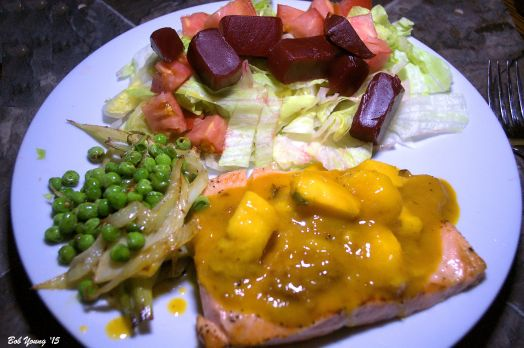 Salmon with Mango Cream Sauce Sauteed Fennel and Peas Green Salad with Tomatoes and Beets 2014 Marchesi Winery Anjola Pinot Grigio