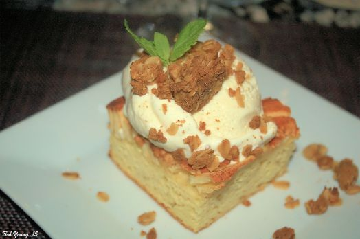 Apple Kuchen traditional apple cake, nutmeg ice cream (awesome), oat crumble 2014 Dr Loosen Blue Slate Riesling