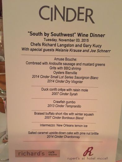 The menu and accompanying wines.
