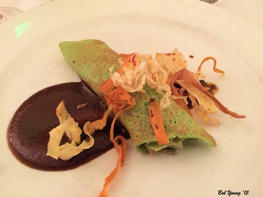 Duck Confit Crepe with Raisin Mole