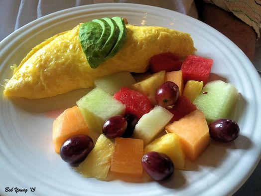 Lil Jake Omelet and Fresh Fruit with Avocado