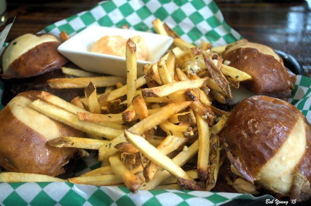 "Sliders and Rosemary Garlic Truffle Fries choice of Ground Beef with smoked provolone, bacon and mesquite aioli  ""Triple B"" Ground Beef with bacon, bleu chees and BBQ Braised Pulled Pork with black cherry BBQ sauce"
