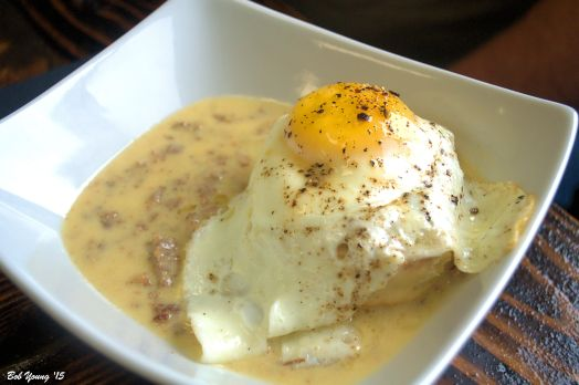 Best Ever Biscuits and Gravy with a Fried Egg