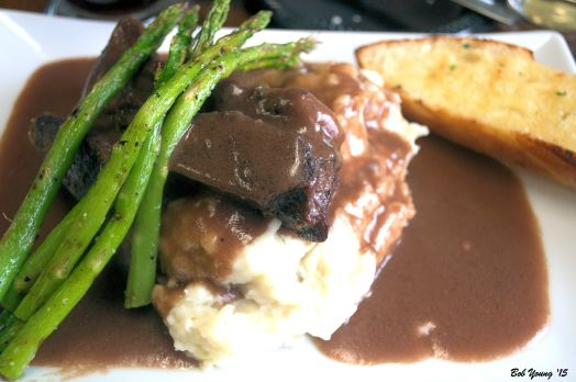 Slow Braised Beef Short Ribs rosemary mashed potatoes, grilled asparagus, homemade bread