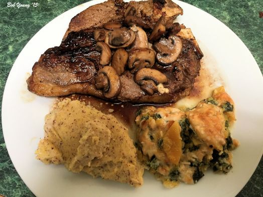 Idaho Polenta Spinach and Butternut Squash Casserole T-Bone Steak with Sauteed Mushrooms and Red Wine Reduction with Shallots