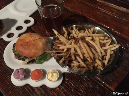 Buffalo Burger with Classic Topping (garlic aioli, spring mix, red onion, pickles, tomato) Russet Fries for Two