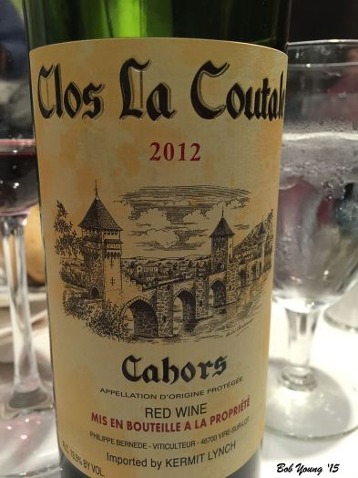 The wine we had with our dinner. Went very well with everything we had.