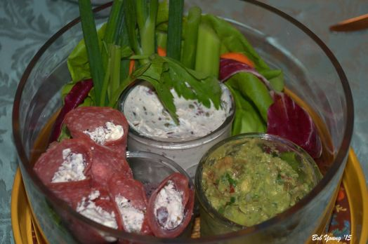 Robin made this super good appetizer dish from fresh veggies and dips and roll-ups. Delicious and fun!