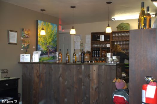 The Tasting Bar. The artwork on the wall is all by Stephanie.