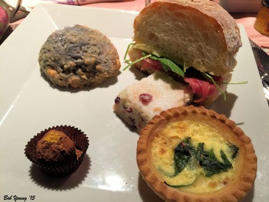 Finger foods were delicious. Blueberry/Raspberry Scone Meat, Cheese and Greens with Aoli on Sourdough Slice, Shortbread, Quiche and Chocolate Truffle
