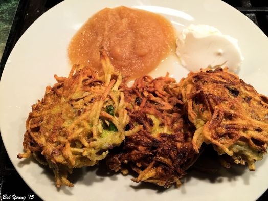 Potato Latkes Apple Sauce Sour Cream Mostly all Idaho products. Yummers!