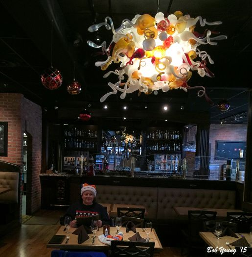 Chuhuli Light in the main dining area! If you know glass art, you know Chuhuli!