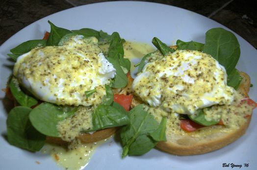 Eggs  Béarnaise with Fresh Baby Spinach and Salmon on Sourdough Toast