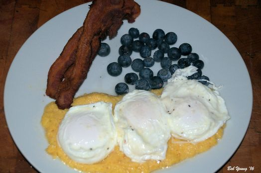 Idaho Breakfast Idaho Polenta with Idaho Poached Eggs Falls Brand Bacon (Twin Falls) Blueberries (not from Idaho)