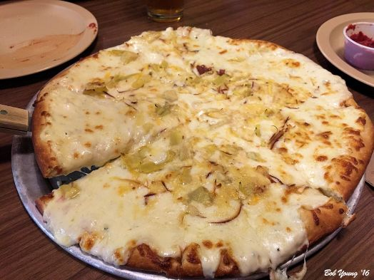 Flying Pie Pizza White Pizza with Artichoke and Cheese Variety