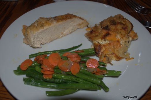 Chicken Oveb Roasted Escalloped Potatoes Green Beans and Carrots