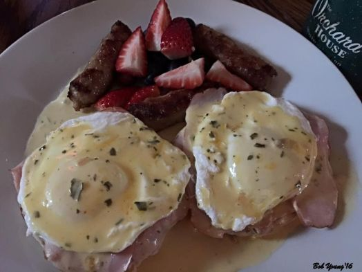Sunday morning breakfast Eggs Benedict and Fresh Fruit
