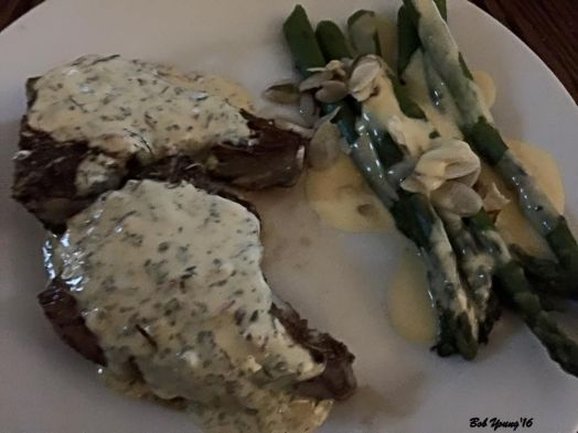 Saturday night Felzien Family Farms Lamb Chops with Bearnaise Sauce Steamed Asparagus with Hollandaise Sauce