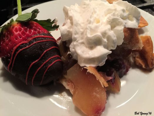 Valentines Dessert Skillet Apple Pie [Modified] with Whipped Cream and Chocolate Strawberry