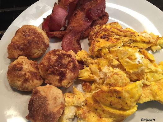 Monday Morning Recovery Scrambled Eggs Bacon Chef Lou's Orange French Doughnuts