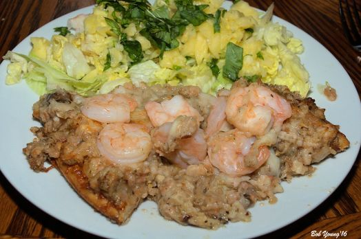 Shrimp Pizza and Green Salad with Pineapple and Basil Dressing