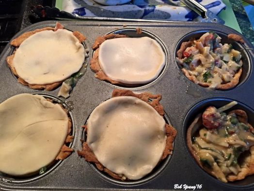 Individual Crayfish Pies using a muffin tin.