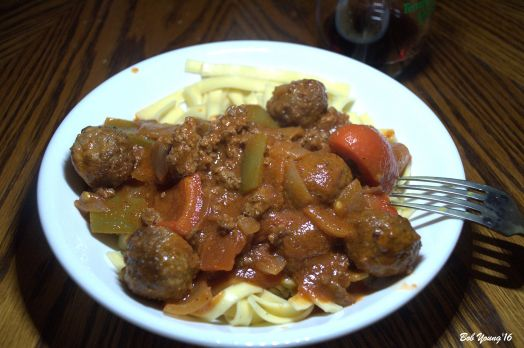 Italian Peppers, Meatballs and Pasta. Thanks Paul!