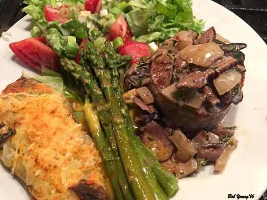 Beef Tenderloin with Mushrooms and Sherry Cream Sauce, Steamed Asparagus with Hollandaise Sauce, Twice Baked Potato and Green Salad with Tomatoes