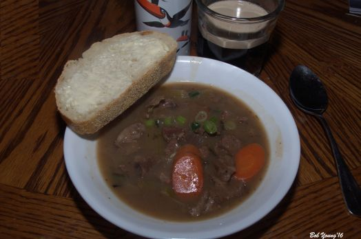Irish Stew with Sourdough Bread and Guinness!