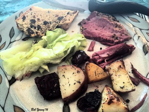 Roasted Root Vegetables (Beets, Potato, Turnip} Cabbage Irish Soda Bread Corned Beef