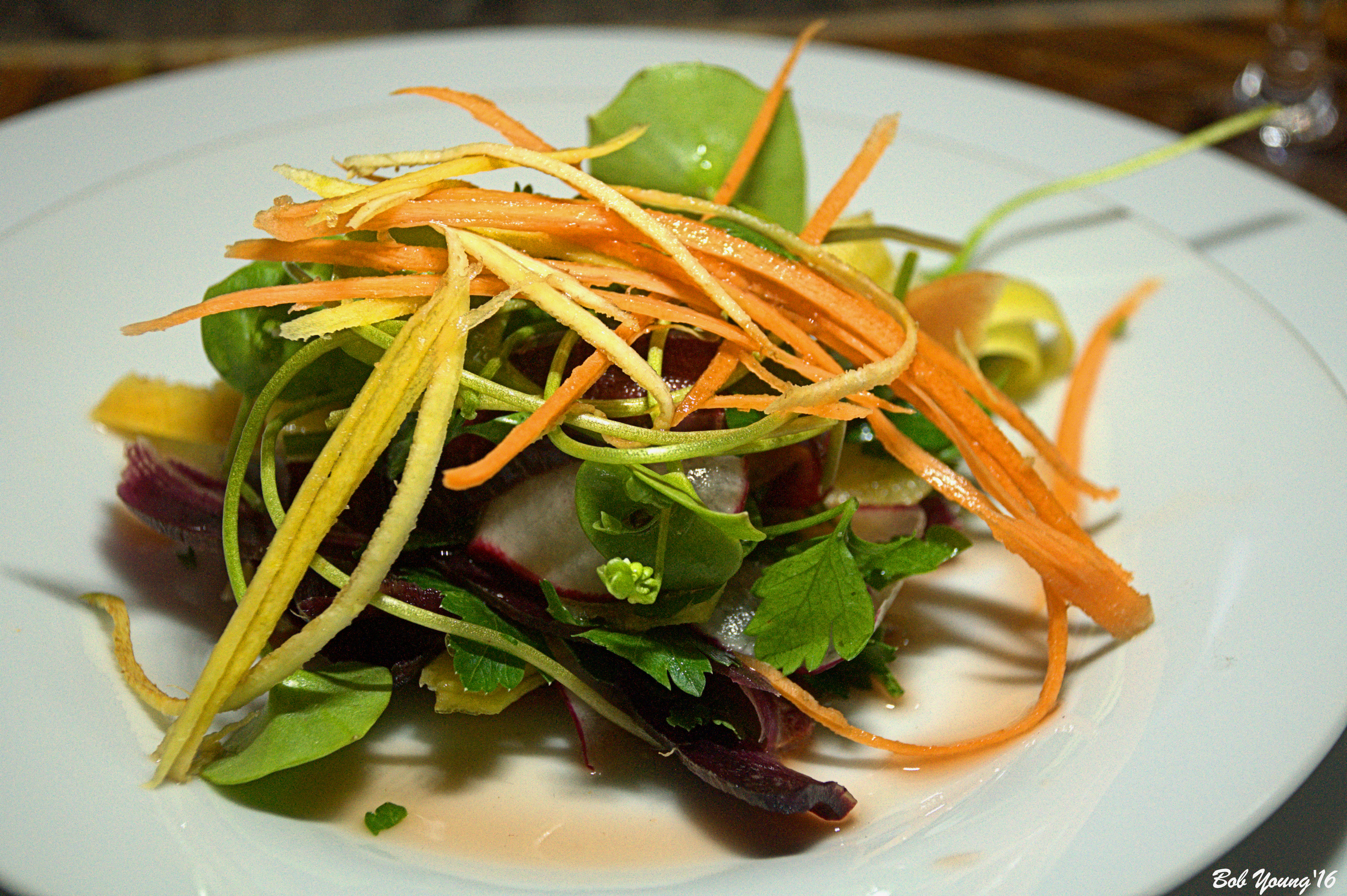 Parsley Salad with Shaved Radish and Fresh Miners Lettuce.