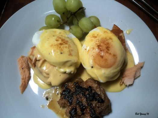 Salmon Benedict with Waffle Biscuits and Country Sausage Patty