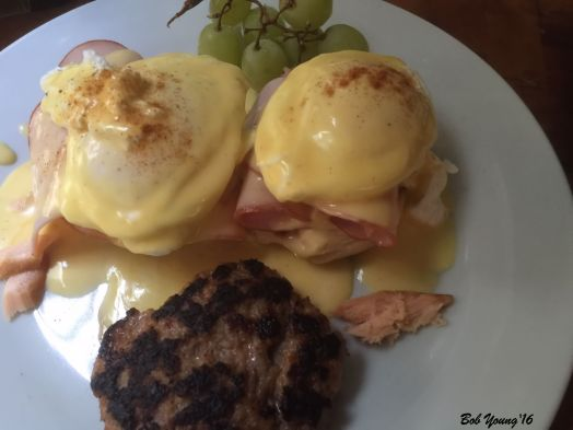 Salmon and Ham Benedict on Waffle Biscuit and Country Sausage Patty