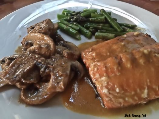 Asian Salmon Braised Mushrooms Steameed Asparagus