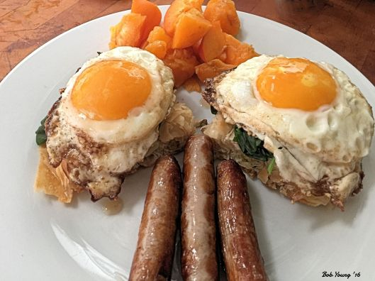 Sunnyside Up Eggs  on Spinach and 5 Greek  Cheese Filo Sausage Links Apricot Chunks