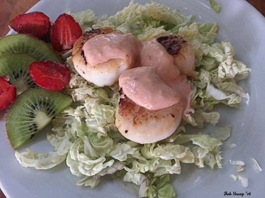 Braised Scallops on Shredded Napa Cabbage Strawberries