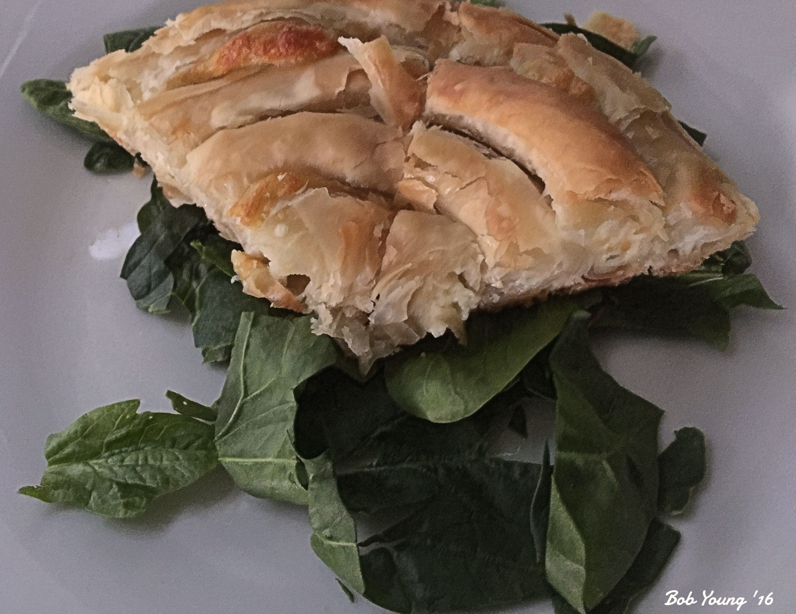 Greek 5-Cheese Filo on Spinach Bed