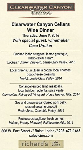 The Menu for the evening and the wines that were paired with dinner.