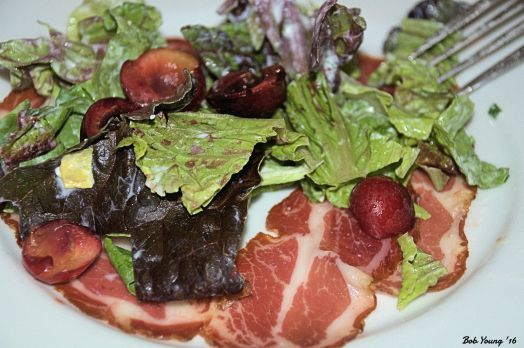 Local Greens La Quercia coppa Local Cherries with Goat Cheese Dressing 2014 Merlot, Lewis-Clark Valley