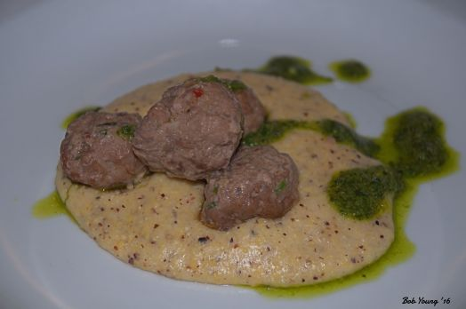 Coriander Spiced Lamb Meatballs Local Heirloom Polenta Salsa Verde 2014 Carmenere, Phinny Hill Vineyaqrd, Horse Heaven Hills