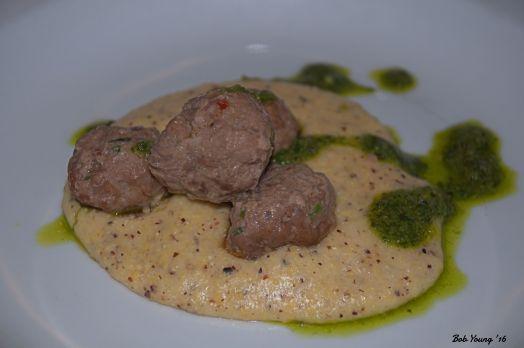 Coriander Spiced Lamb Meatballs Local Heirloom Polenta Salsa Verde 2014 Carmenere, Phinny Hill Vineyaqrd, Horse Heaven Hills