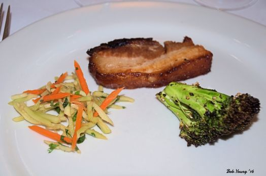 Soy and Brown Sugar-Glazed Pork Belly Roasted Sesame Brocolli 2014 Petit Sirahm Columbia Valley