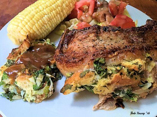 """Stuffed Desert Mountain 1 1/2"""" Pork Chops Corn Green Salad"""