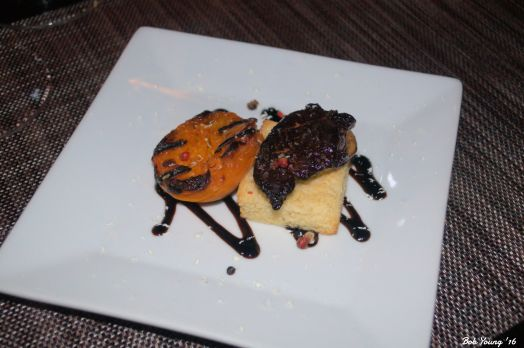 Seared Hudson Valley Foie Gras brioche toast, broiled apricots, raspberry-balsamic glaze and micro greens 2006 Maison Nicolas Sauterne