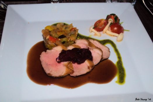 Seared Duck Breast summer vegetable ratatouille, port reduction sauce, beech mushroom, tomato, truffle oil, local stewed cherries 2010 hateau Patache d'Aux Cru Bourgeois, Medoc