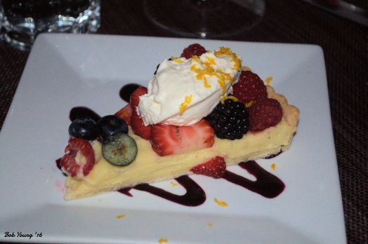 Berry Tart creme patissiere, fresh berries, blueberry coulis, Chantilly cream NV Jean Laurent Champagne Blanc de Noirs