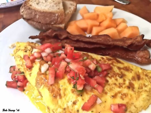 2-Egg Cheese Omelet with Pico de Gallo Bacon Acme Whole Wheat Toast Fresh Canteloupe