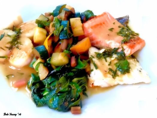Braised Scallops in Garlic Butter Zucchini and Baby Turnip with Rainbow Chard Medley Braised Salmon and Halibut in a Tarragon Cream Sauce